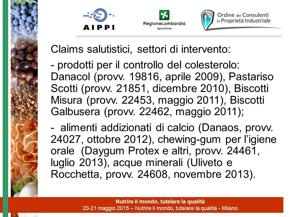 Claims salutistici, settori di intervento: - prodotti per il controllo del colesterolo: Danacol (provv. 19816, aprile 2009), Pastariso Scotti (provv.