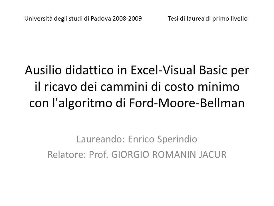 Ausilio didattico in Excel-Visual Basic per il ricavo dei cammini di costo minimo con l'algoritmo di Ford-Moore-Bellman Laureando: Enrico Sperindio Re