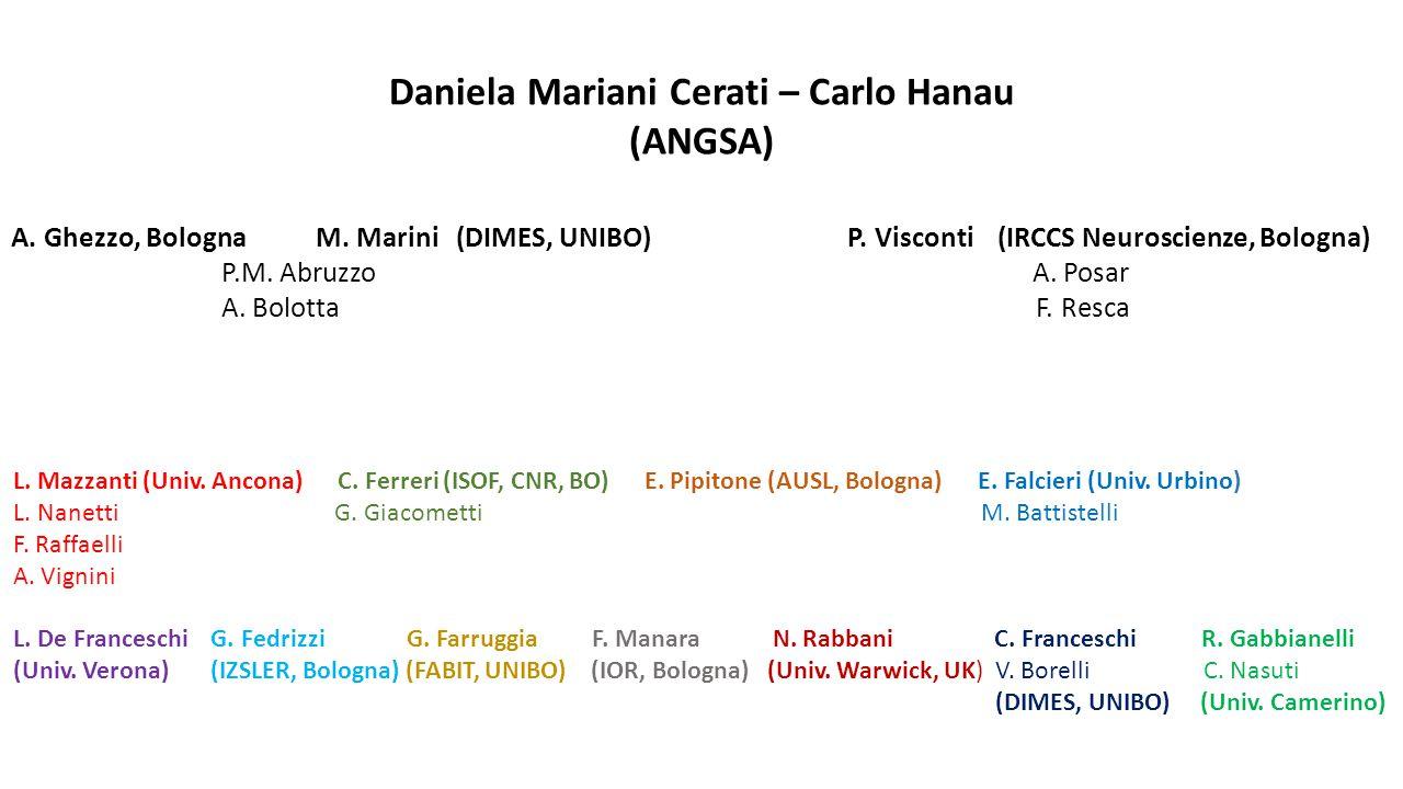Daniela Mariani Cerati – Carlo Hanau (ANGSA) A. Ghezzo, Bologna M. Marini (DIMES, UNIBO) P. Visconti (IRCCS Neuroscienze, Bologna) P.M. Abruzzo A. Pos