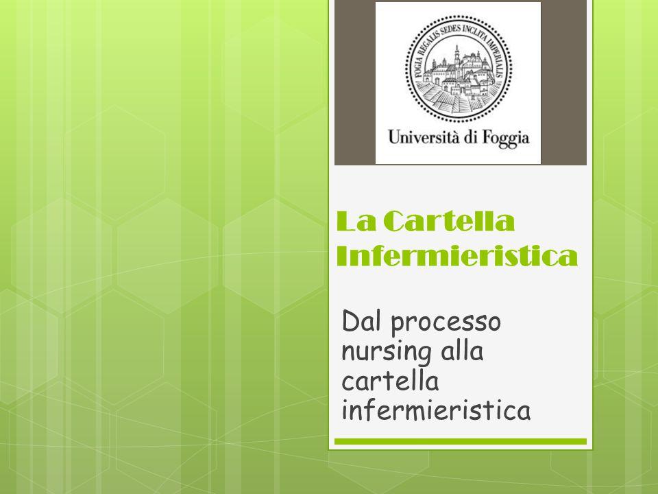 LA CARTELLA INFERMIERISTICA è lo strumento mediante cui l'infermiere documenta il processo di assistenza infermieristica.