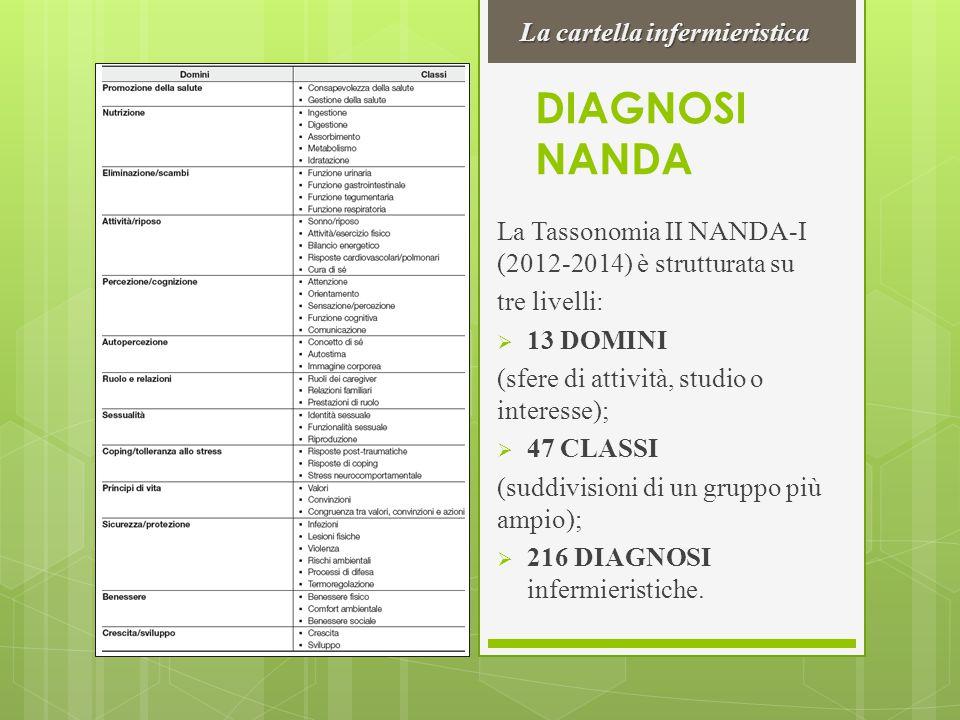 DIAGNOSI NANDA La Tassonomia II NANDA-I (2012-2014) è strutturata su tre livelli:  13 DOMINI (sfere di attività, studio o interesse);  47 CLASSI (su
