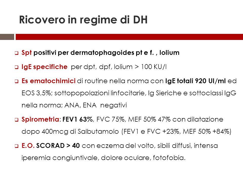 Ricovero in regime di DH  Spt positivi per dermatophagoides pt e f., lolium  IgE specifiche per dpt, dpf, lolium > 100 KU/l  Es ematochimici di rou