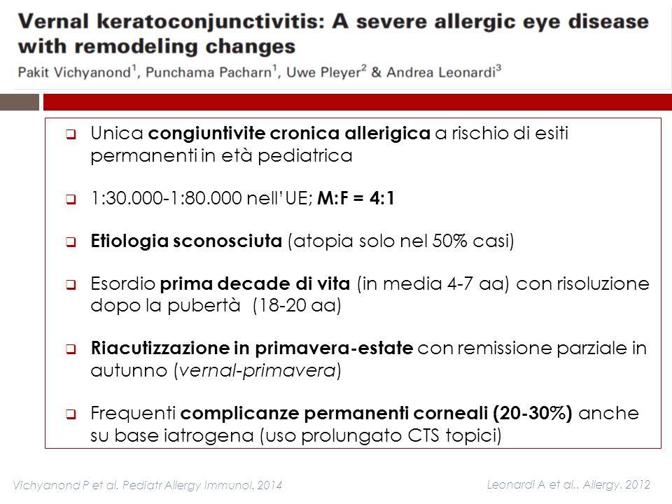  Unica congiuntivite cronica allerigica a rischio di esiti permanenti in età pediatrica  1:30.000-1:80.000 nell'UE; M:F = 4:1  Etiologia sconosciut
