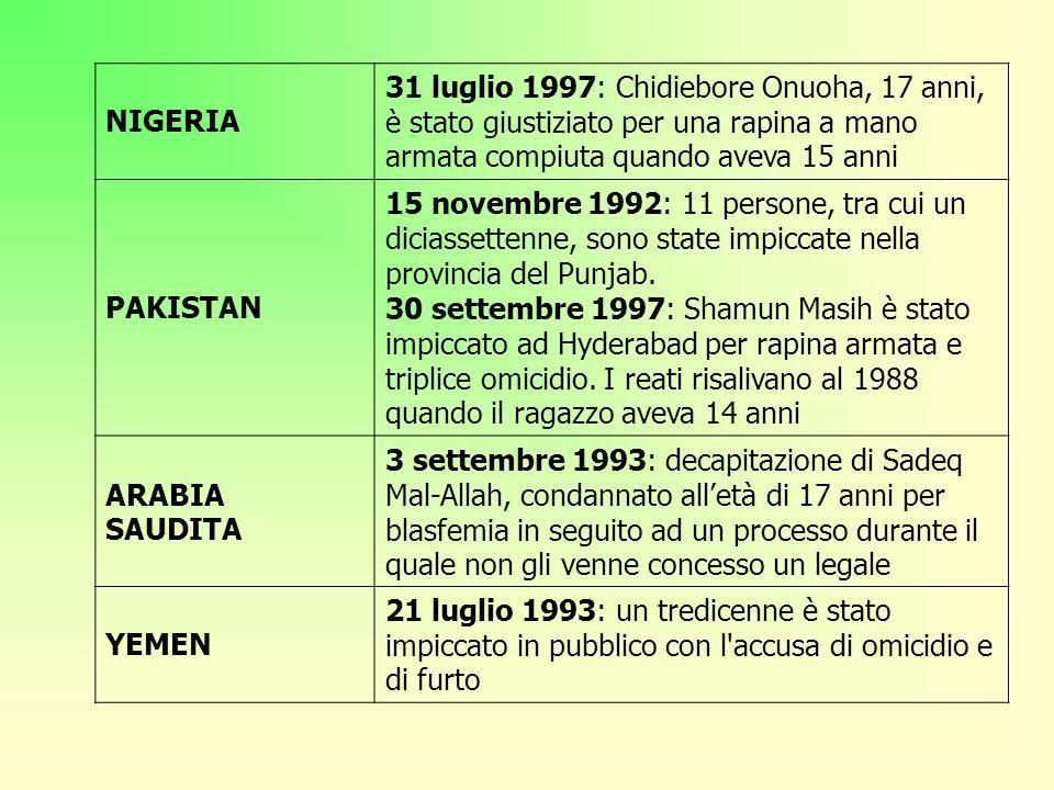 NIGERIA 31 luglio 1997: Chidiebore Onuoha, 17 anni, è stato giustiziato per una rapina a mano armata compiuta quando aveva 15 anni PAKISTAN 15 novembr