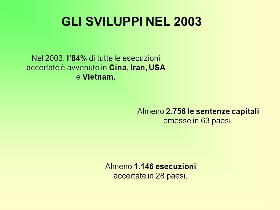 Nel 2003, l'84% di tutte le esecuzioni accertate è avvenuto in Cina, Iran, USA e Vietnam. GLI SVILUPPI NEL 2003 Almeno 1.146 esecuzioni accertate in 2