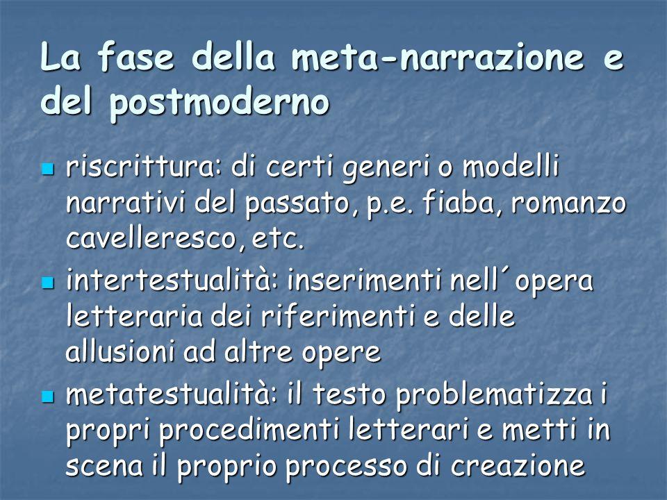 La fase della meta-narrazione e del postmoderno riscrittura: di certi generi o modelli narrativi del passato, p.e. fiaba, romanzo cavelleresco, etc. r