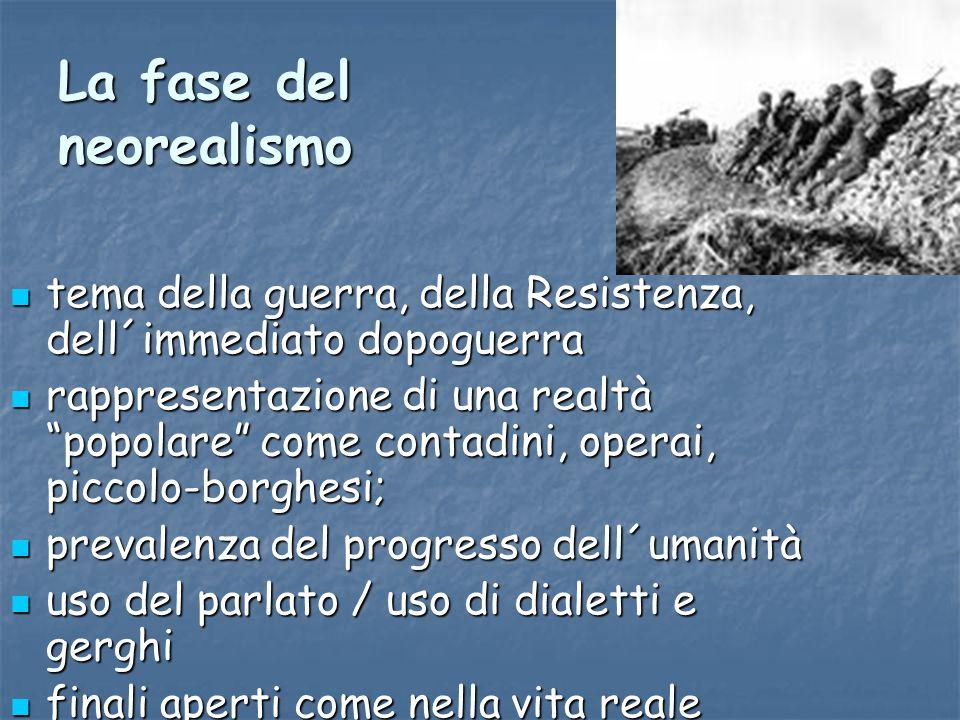 La fase del neorealismo tema della guerra, della Resistenza, dell´immediato dopoguerra tema della guerra, della Resistenza, dell´immediato dopoguerra