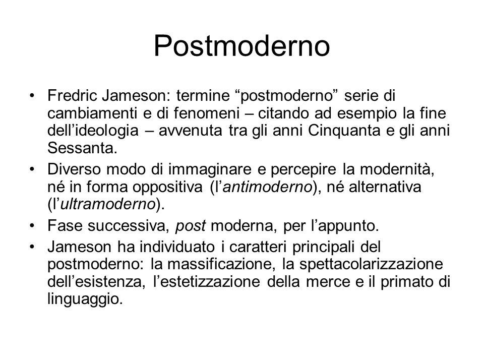 Postmoderno Fredric Jameson: termine postmoderno serie di cambiamenti e di fenomeni – citando ad esempio la fine dell'ideologia – avvenuta tra gli anni Cinquanta e gli anni Sessanta.