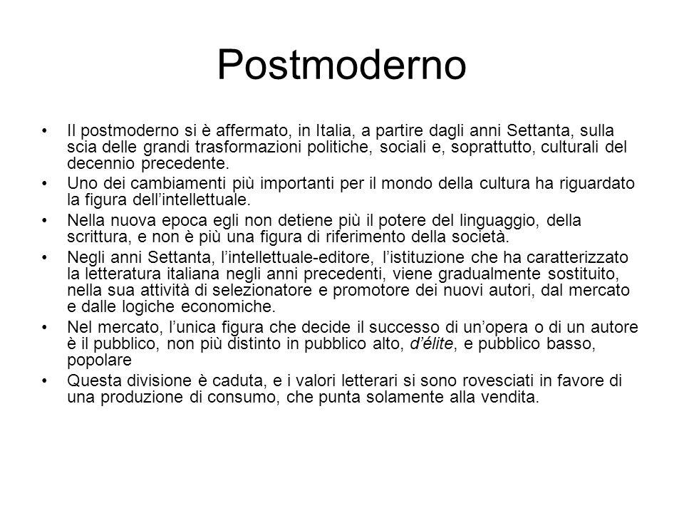 Postmoderno Il postmoderno si è affermato, in Italia, a partire dagli anni Settanta, sulla scia delle grandi trasformazioni politiche, sociali e, soprattutto, culturali del decennio precedente.