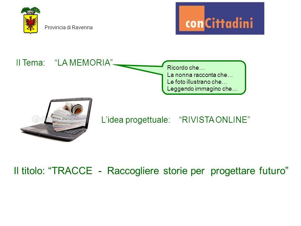 """Provincia di Ravenna Ricordo che… La nonna racconta che… Le foto illustrano che… Leggendo immagino che… Il Tema: """"LA MEMORIA"""" L'idea progettuale: """"RIV"""