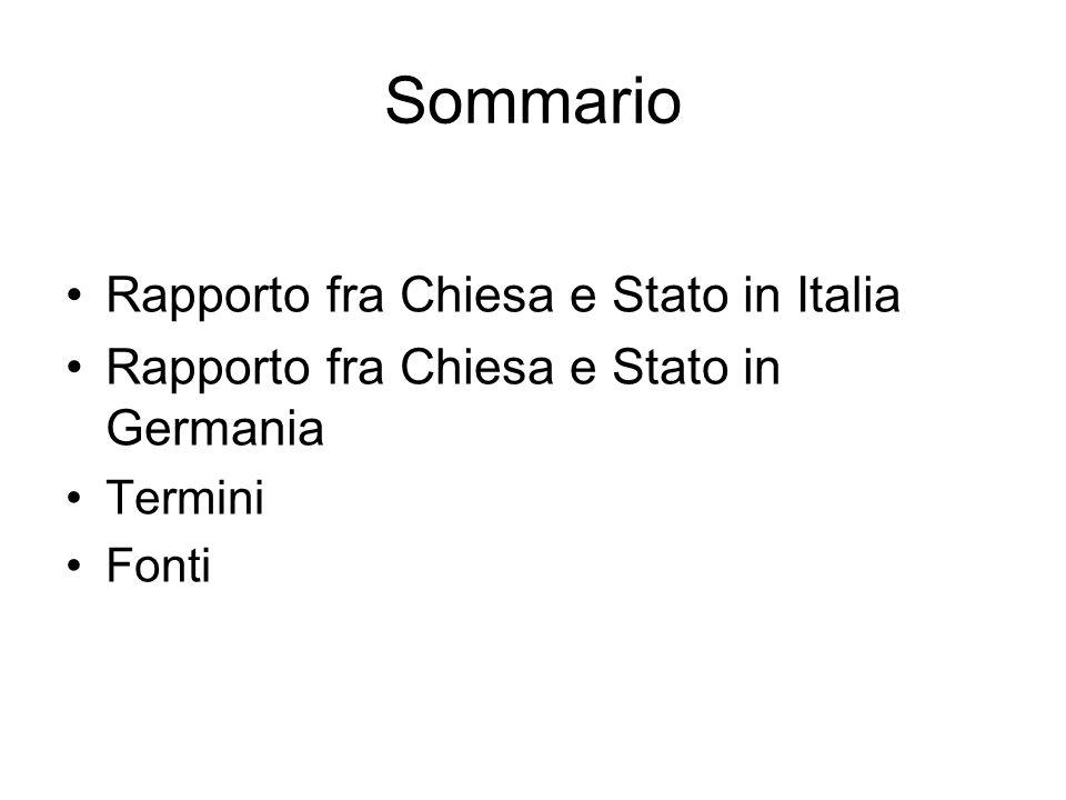 Rapporto fra chiesa e Stato in Italia 11.