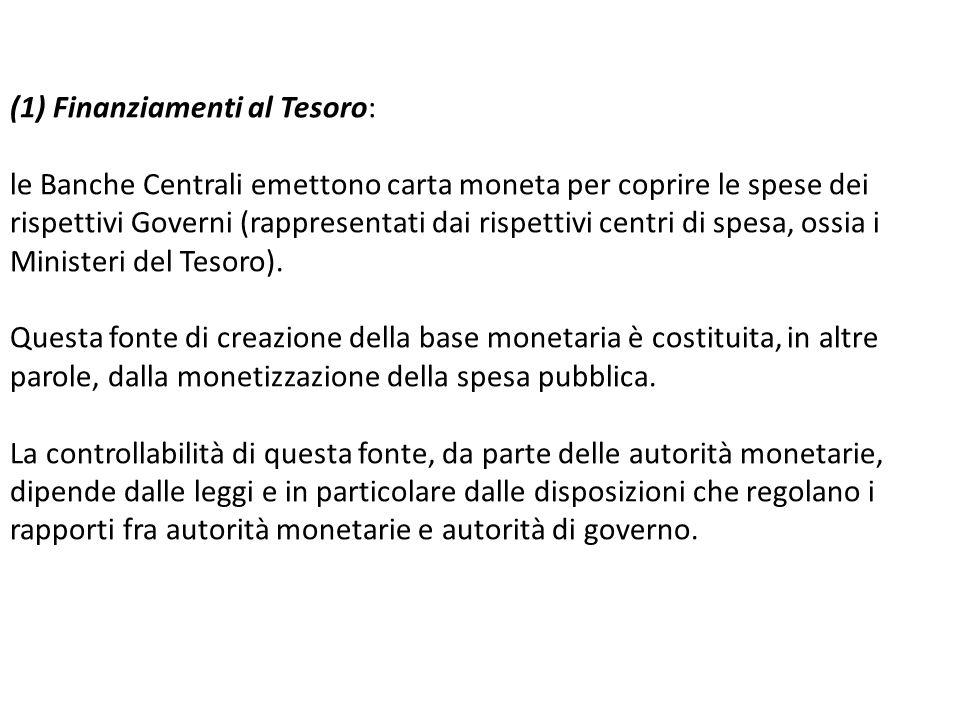 (1) Finanziamenti al Tesoro: le Banche Centrali emettono carta moneta per coprire le spese dei rispettivi Governi (rappresentati dai rispettivi centri