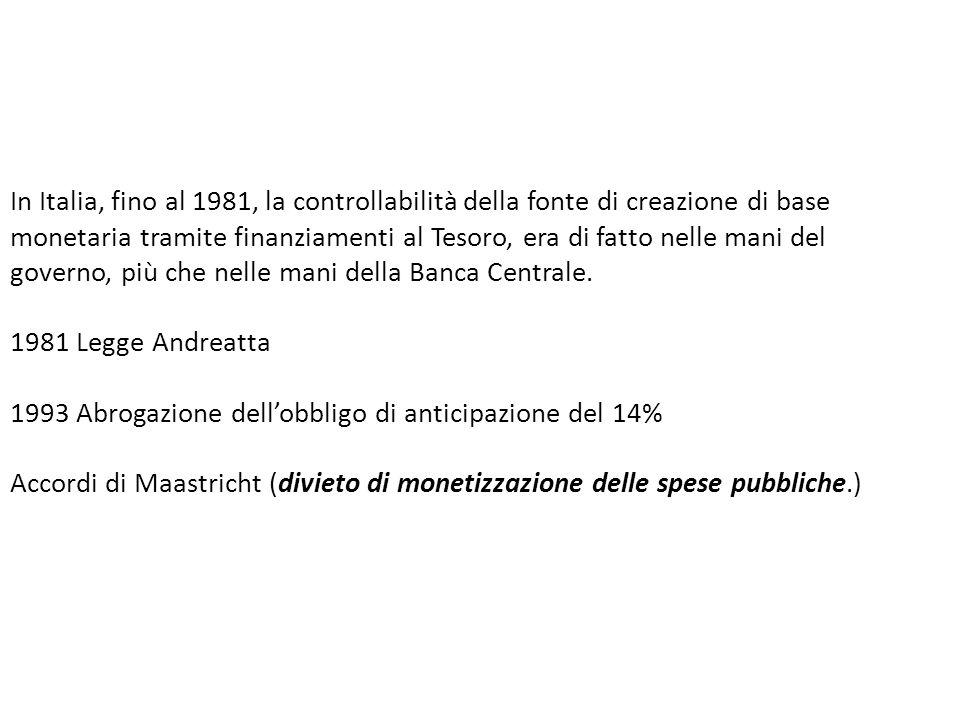 In Italia, fino al 1981, la controllabilità della fonte di creazione di base monetaria tramite finanziamenti al Tesoro, era di fatto nelle mani del go