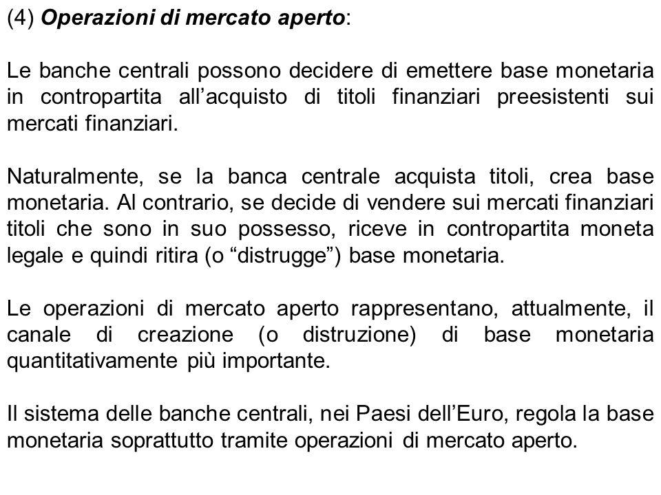 (4) Operazioni di mercato aperto: Le banche centrali possono decidere di emettere base monetaria in contropartita all'acquisto di titoli finanziari pr