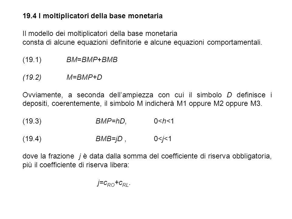 19.4 I moltiplicatori della base monetaria Il modello dei moltiplicatori della base monetaria consta di alcune equazioni definitorie e alcune equazion