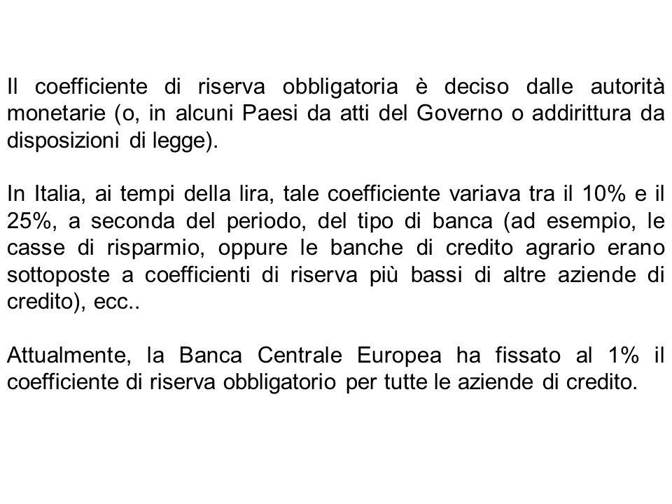 Il coefficiente di riserva obbligatoria è deciso dalle autorità monetarie (o, in alcuni Paesi da atti del Governo o addirittura da disposizioni di leg