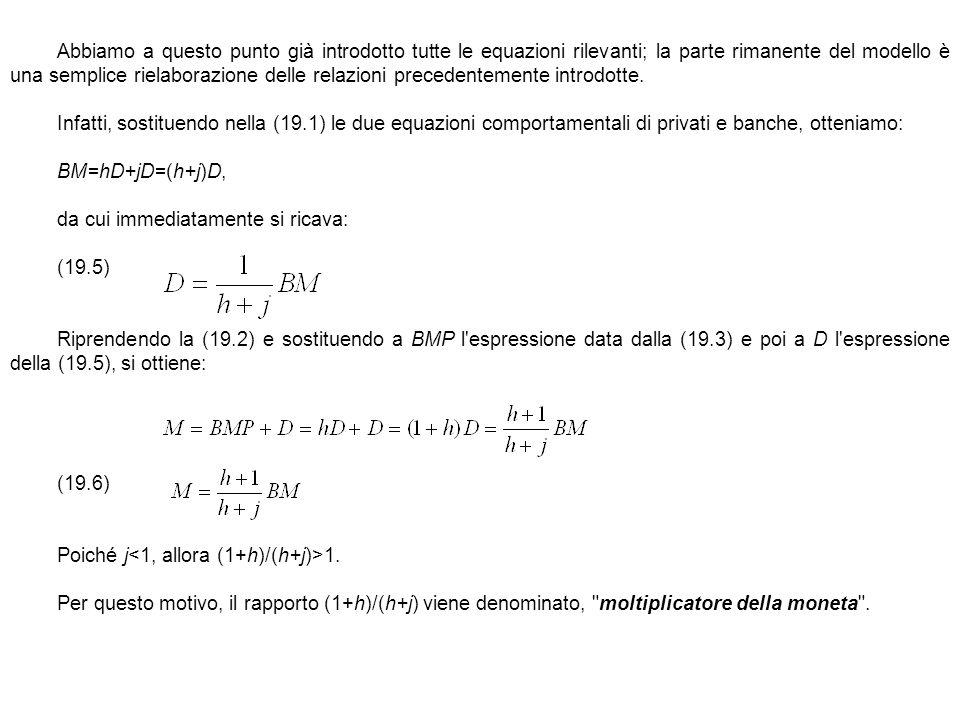 Abbiamo a questo punto già introdotto tutte le equazioni rilevanti; la parte rimanente del modello è una semplice rielaborazione delle relazioni prece