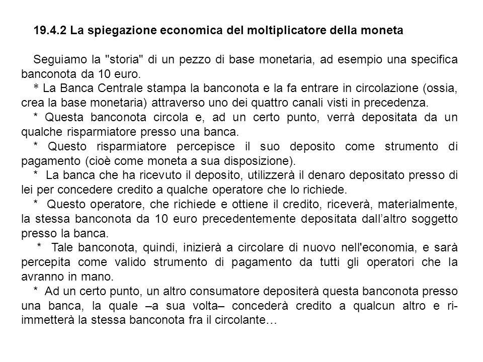 19.4.2 La spiegazione economica del moltiplicatore della moneta Seguiamo la