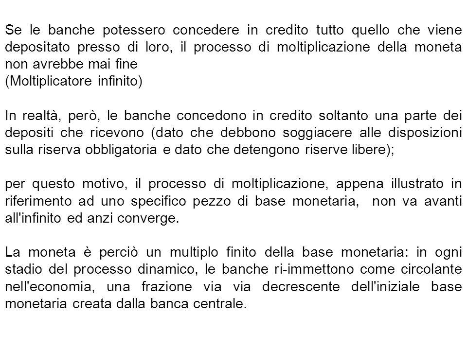 Se le banche potessero concedere in credito tutto quello che viene depositato presso di loro, il processo di moltiplicazione della moneta non avrebbe
