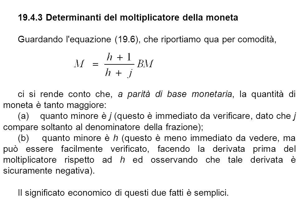 19.4.3 Determinanti del moltiplicatore della moneta Guardando l'equazione (19.6), che riportiamo qua per comodità, ci si rende conto che, a parità di