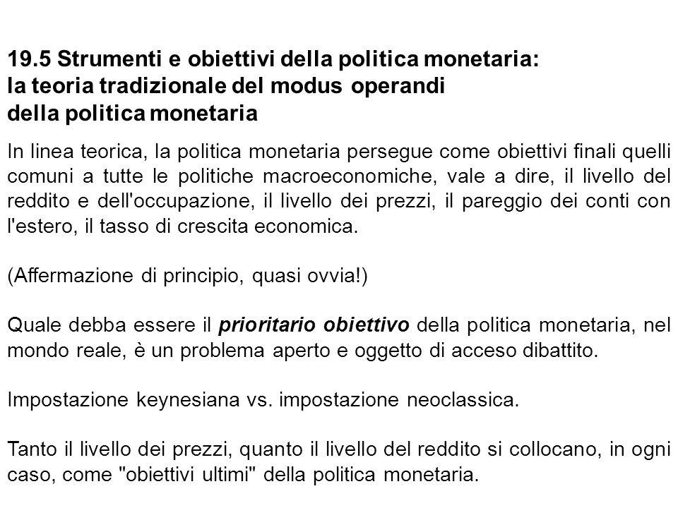 19.5 Strumenti e obiettivi della politica monetaria: la teoria tradizionale del modus operandi della politica monetaria In linea teorica, la politica