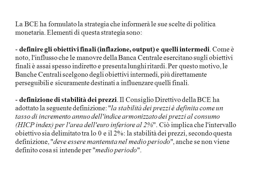 La BCE ha formulato la strategia che informerà le sue scelte di politica monetaria. Elementi di questa strategia sono: - definire gli obiettivi finali