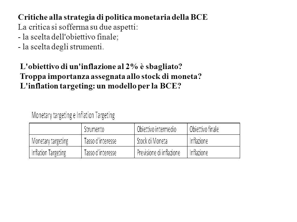 Critiche alla strategia di politica monetaria della BCE La critica si sofferma su due aspetti: - la scelta dell'obiettivo finale; - la scelta degli st