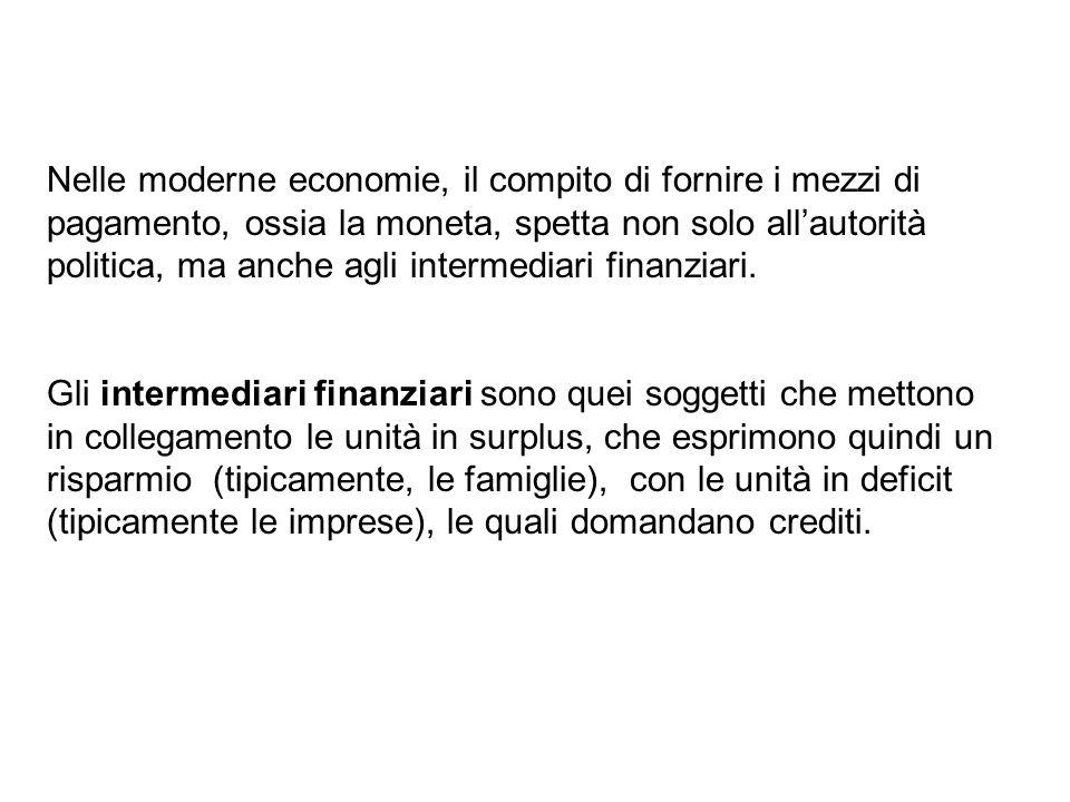 Nelle moderne economie, il compito di fornire i mezzi di pagamento, ossia la moneta, spetta non solo all'autorità politica, ma anche agli intermediari