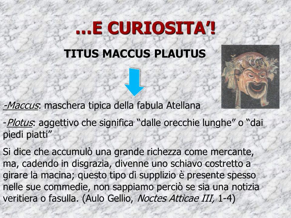 """…E CURIOSITA'! TITUS MACCUS PLAUTUS Maccus -Maccus: maschera tipica della fabula Atellana Plotus -Plotus: aggettivo che significa """"dalle orecchie lung"""
