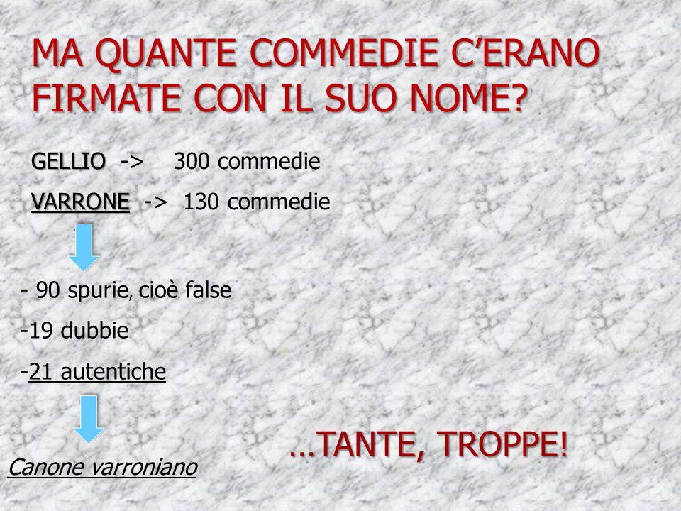 GELLIO GELLIO -> 300 commedie VARRONE VARRONE -> 130 commedie - 90 spurie, cioè false -19 dubbie -21 autentiche Canone varroniano MA QUANTE COMMEDIE C