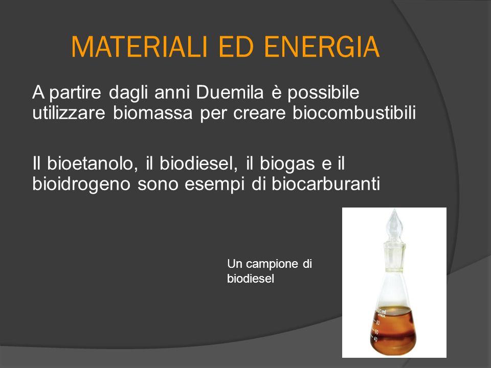 MATERIALI ED ENERGIA A partire dagli anni Duemila è possibile utilizzare biomassa per creare biocombustibili Il bioetanolo, il biodiesel, il biogas e