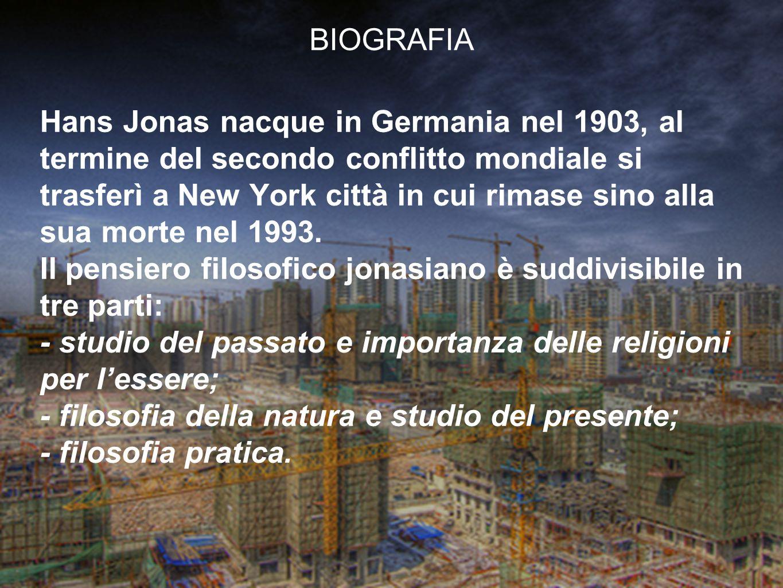 Hans Jonas nacque in Germania nel 1903, al termine del secondo conflitto mondiale si trasferì a New York città in cui rimase sino alla sua morte nel 1