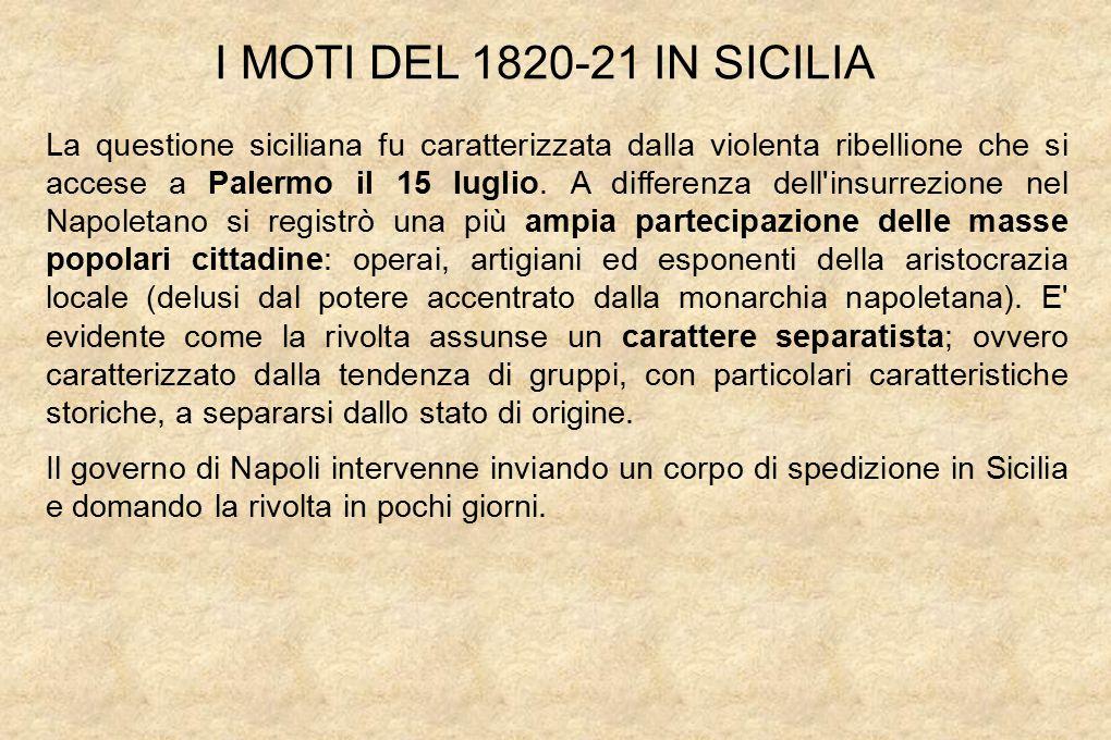 La questione siciliana fu caratterizzata dalla violenta ribellione che si accese a Palermo il 15 luglio.