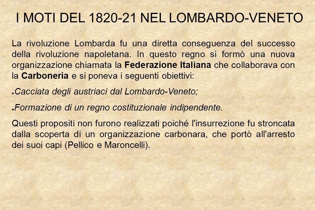 La rivoluzione Lombarda fu una diretta conseguenza del successo della rivoluzione napoletana.