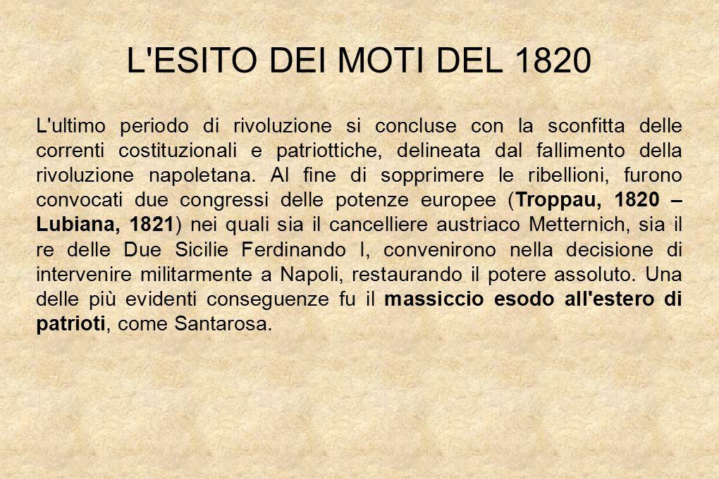 L ESITO DEI MOTI DEL 1820 L ultimo periodo di rivoluzione si concluse con la sconfitta delle correnti costituzionali e patriottiche, delineata dal fallimento della rivoluzione napoletana.