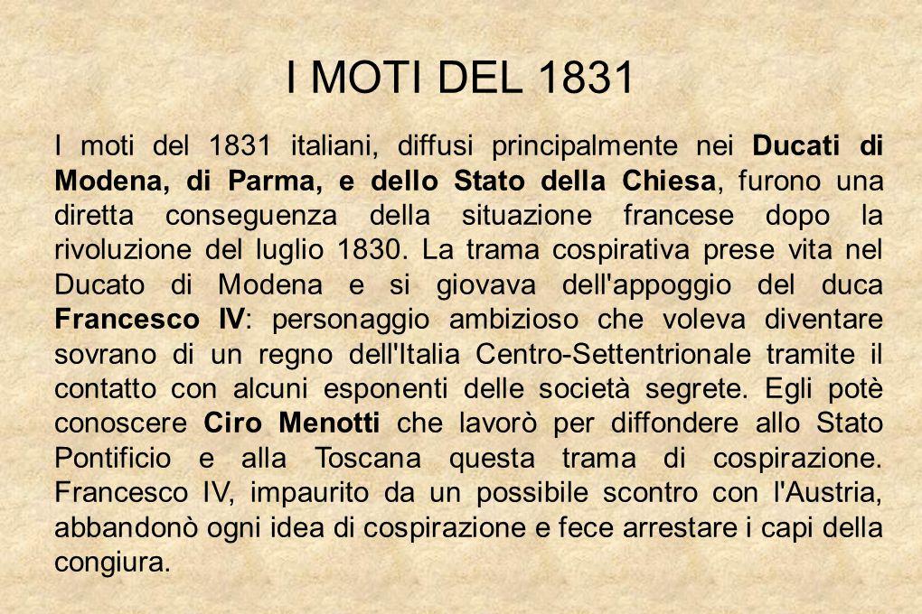 I MOTI DEL 1831 I moti del 1831 italiani, diffusi principalmente nei Ducati di Modena, di Parma, e dello Stato della Chiesa, furono una diretta conseguenza della situazione francese dopo la rivoluzione del luglio 1830.