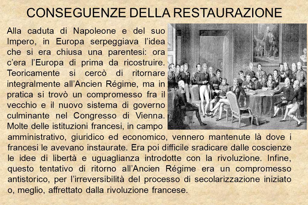 CONSEGUENZE DELLA RESTAURAZIONE Alla caduta di Napoleone e del suo Impero, in Europa serpeggiava l'idea che si era chiusa una parentesi: ora c'era l'Europa di prima da ricostruire.