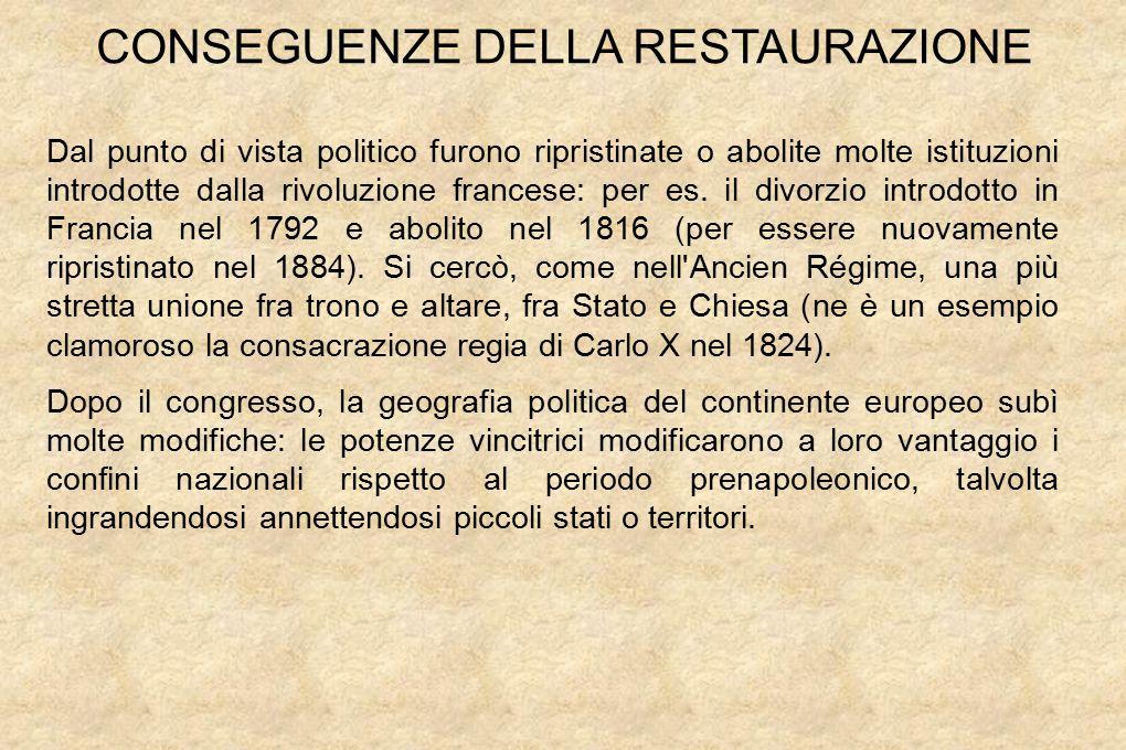 Dal punto di vista politico furono ripristinate o abolite molte istituzioni introdotte dalla rivoluzione francese: per es.