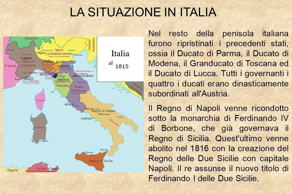 Nel resto della penisola italiana furono ripristinati i precedenti stati, ossia il Ducato di Parma, il Ducato di Modena, il Granducato di Toscana ed il Ducato di Lucca.