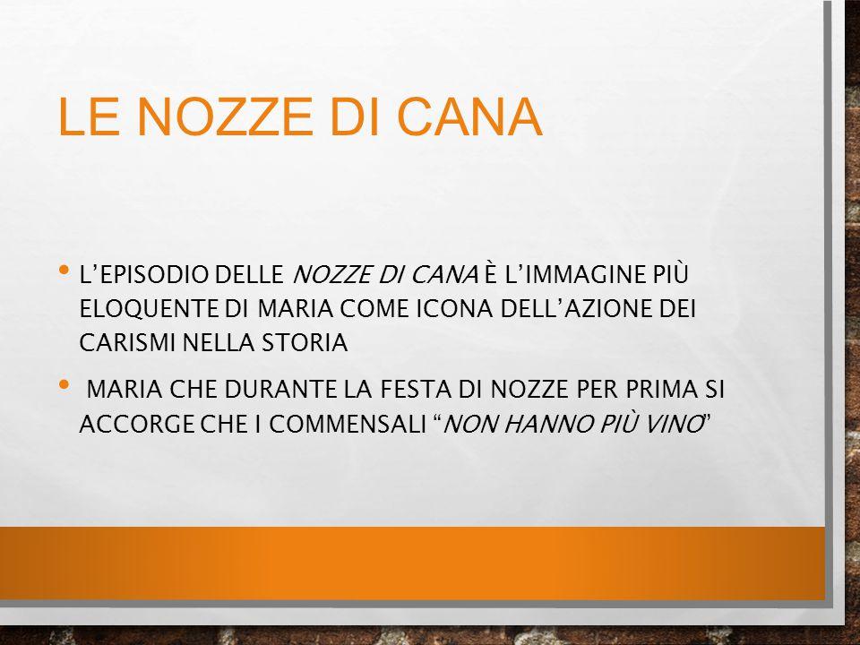 LE NOZZE DI CANA L'EPISODIO DELLE NOZZE DI CANA È L'IMMAGINE PIÙ ELOQUENTE DI MARIA COME ICONA DELL'AZIONE DEI CARISMI NELLA STORIA MARIA CHE DURANTE