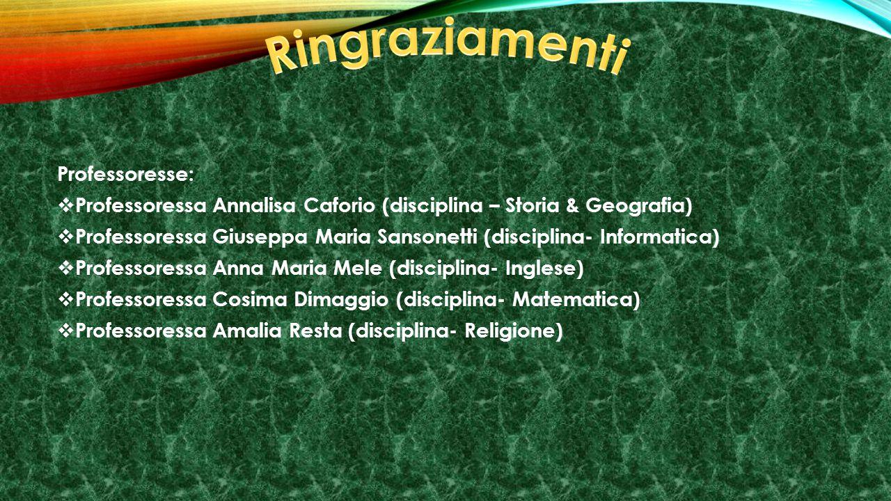 Professoresse: PProfessoressa Annalisa Caforio (disciplina – Storia & Geografia) PProfessoressa Giuseppa Maria Sansonetti (disciplina- Informatica