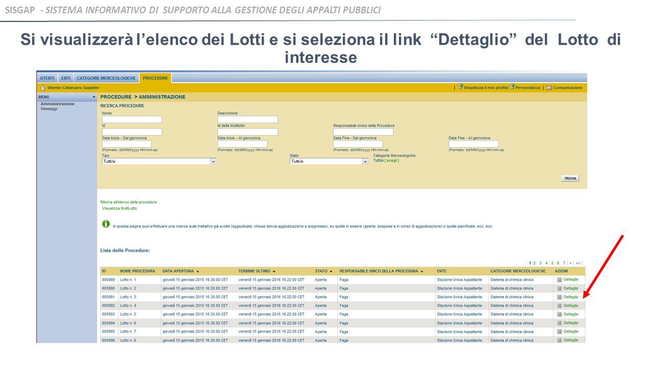 Si visualizzerà l'elenco dei Lotti e si seleziona il link Dettaglio del Lotto di interesse SISGAP - SISTEMA INFORMATIVO DI SUPPORTO ALLA GESTIONE DEGLI APPALTI PUBBLICI
