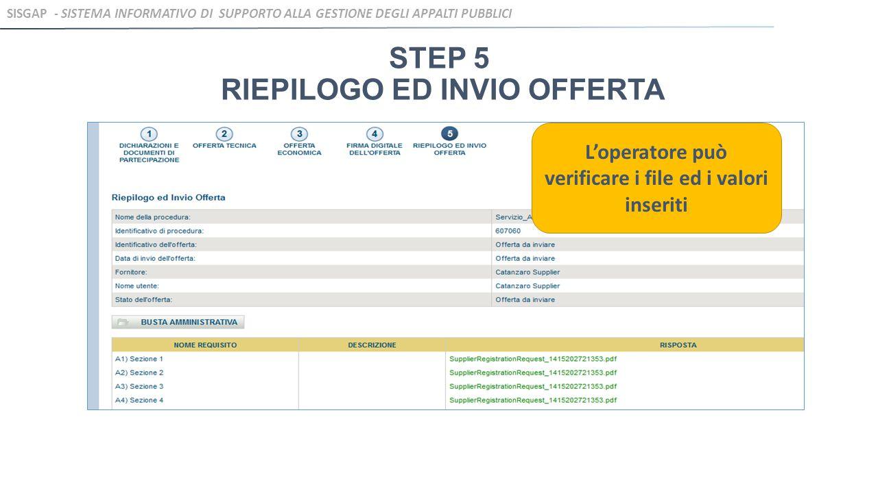 STEP 5 RIEPILOGO ED INVIO OFFERTA L'operatore può verificare i file ed i valori inseriti SISGAP - SISTEMA INFORMATIVO DI SUPPORTO ALLA GESTIONE DEGLI APPALTI PUBBLICI
