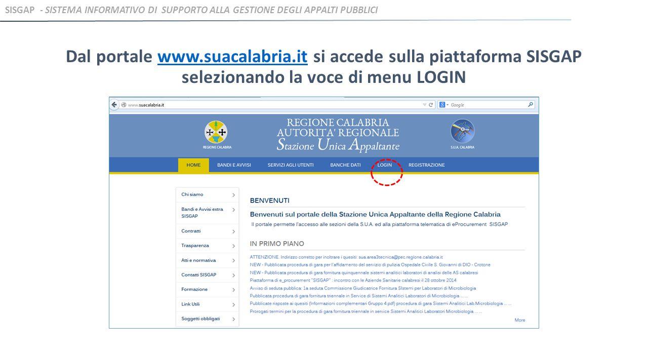 Dal portale www.suacalabria.it si accede sulla piattaforma SISGAP selezionando la voce di menu LOGINwww.suacalabria.it SISGAP - SISTEMA INFORMATIVO DI SUPPORTO ALLA GESTIONE DEGLI APPALTI PUBBLICI
