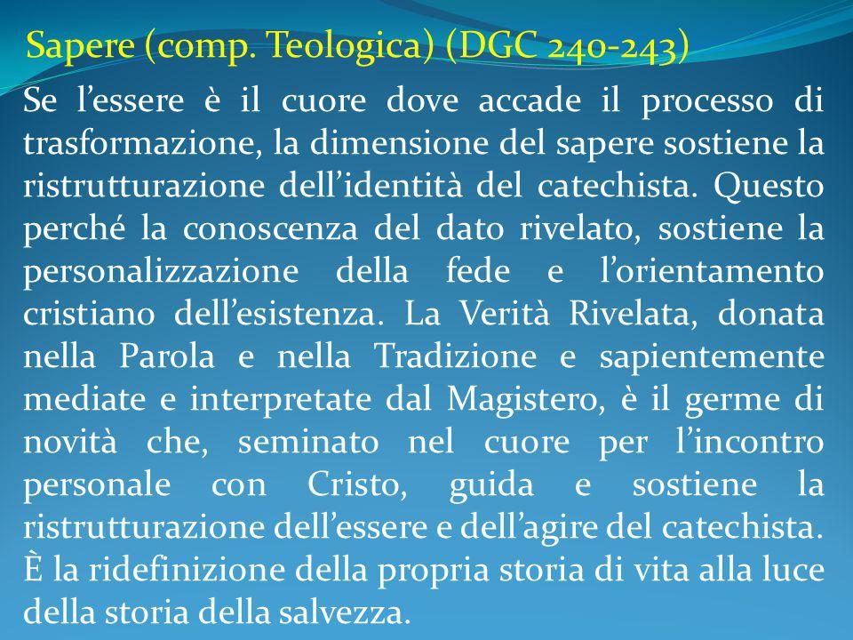 Sapere (comp. Teologica) (DGC 240-243) Se l'essere è il cuore dove accade il processo di trasformazione, la dimensione del sapere sostiene la ristrutt