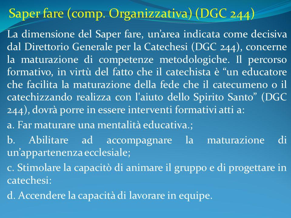 Saper fare (comp. Organizzativa) (DGC 244) La dimensione del Saper fare, un'area indicata come decisiva dal Direttorio Generale per la Catechesi (DGC
