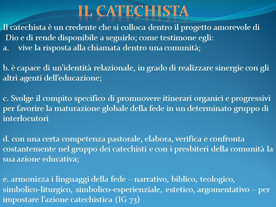 Il catechista è un credente che si colloca dentro il progetto amorevole di Dio e di rende disponibile a seguirlo; come testimone egli: a.vive la rispo