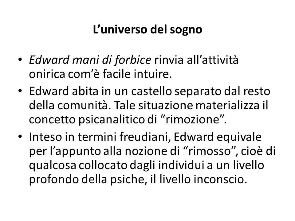 L'universo del sogno Edward mani di forbice rinvia all'attività onirica com'è facile intuire. Edward abita in un castello separato dal resto della com