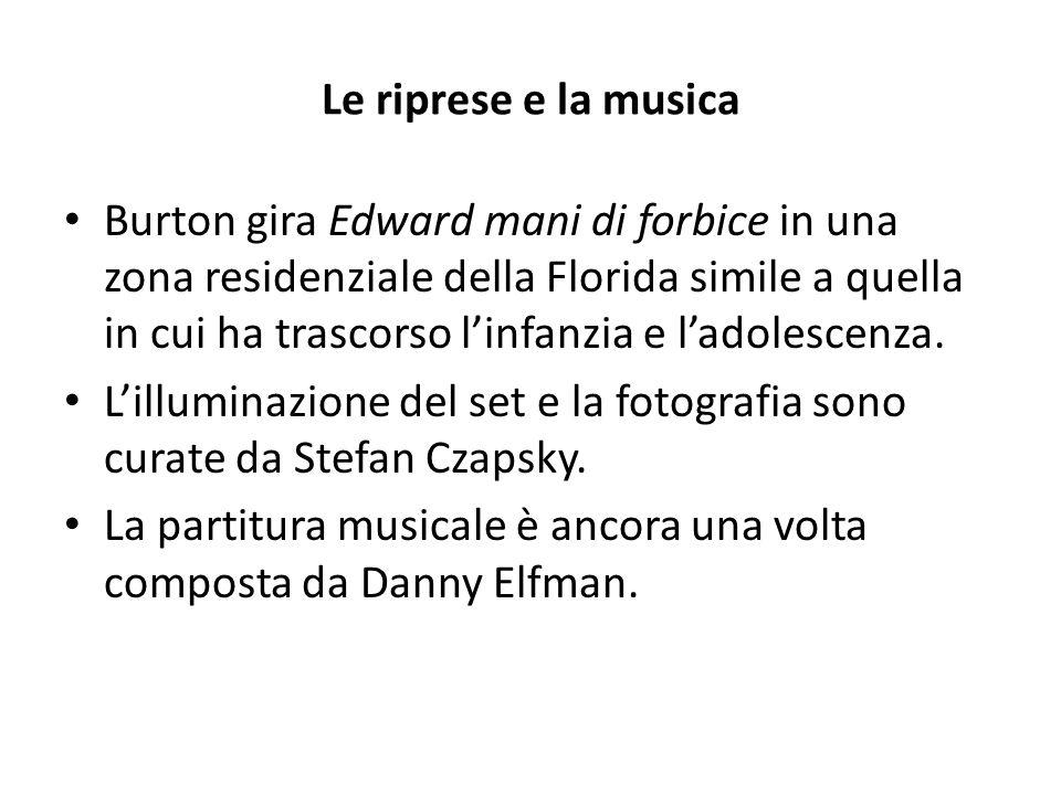 Le riprese e la musica Burton gira Edward mani di forbice in una zona residenziale della Florida simile a quella in cui ha trascorso l'infanzia e l'ad