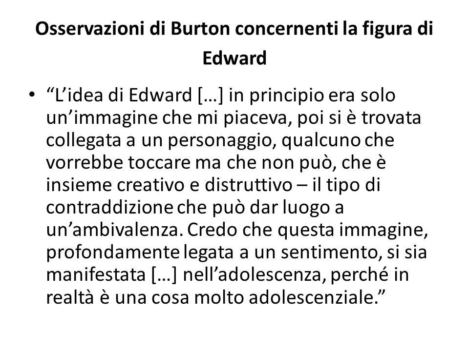 """Osservazioni di Burton concernenti la figura di Edward """"L'idea di Edward […] in principio era solo un'immagine che mi piaceva, poi si è trovata colleg"""